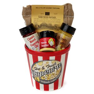Wabash Valley Farms Ceramic Red & White Striped Popcorn Bowl Gift Set
