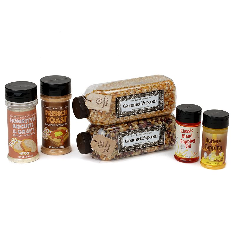 Popcorn for breakfast? Of course! This Breakfast Combo Seasoning Set is a great jump start to your morning and is sure to waken up your taste buds. Sprinkle on Biscuits & Gravy seasoning for a down home country experience French Toast seasoning gives you that perfect combination of sweet and salty when sprinkled on popcorn Golden Harvest Gourmet Popcorn Kernels pops into large, delicious pieces of popcorn, just like at the movies Valley Bloom Gourmet Popcorn Kernals are a blend of several gourmet corns, each offer their own unique taste Classic Blend Popping Oil is a combination of corn and coconut popping oil WHAT\\\'S INCLUDED 4- oz. Jar of Biscuits & Gravy 5.6-oz. Jar of French Toast 18-oz. Jar of Golden Harvest Gourmet Popcorn Kernels 18 oz. Jar of Valley Bloom Gourmet Popcorn Kernels 3-oz. Jar Classic Blend Popping Oil 3-oz. Jar of Buttery Popcorn Topping Model no. 41448 Size: One Size. Color: Multicolor. Gender: unisex. Age Group: adult.