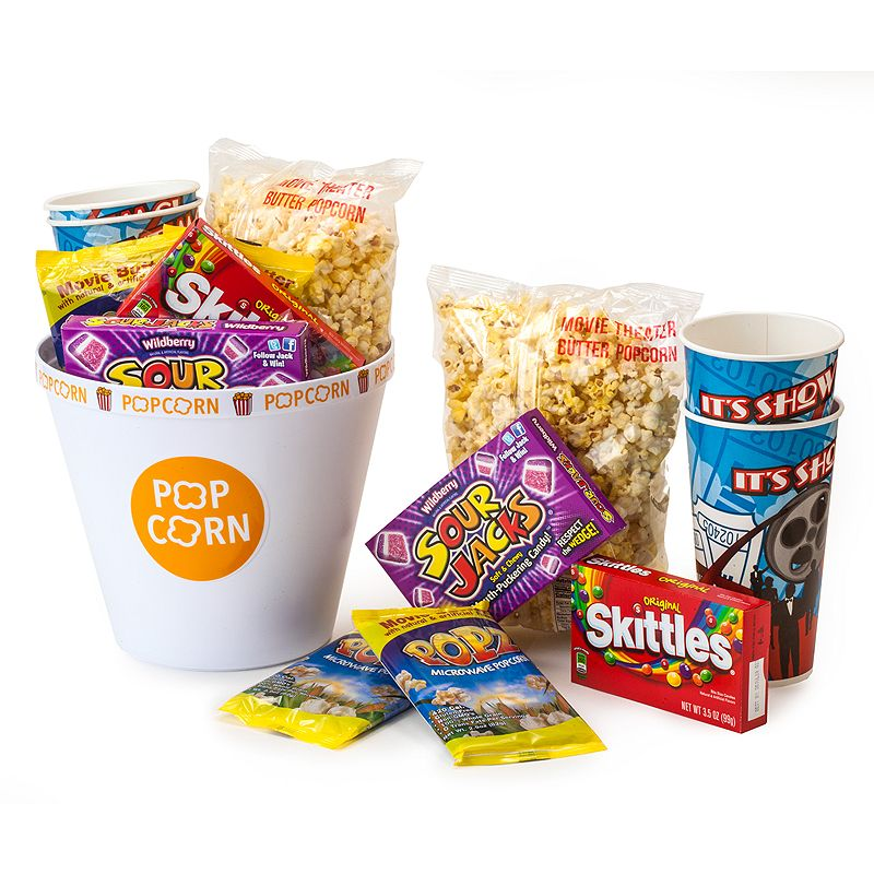 For anyone who enjoys a great movie night, this popcorn party gift set truly has it all! This gift comes complete with buttery microwave popcorn, theater style candy, pre-popped popcorn, authentic movie theater cups and a jumbo reusable popcorn tub. Great ready-to-give gift Snacks all neatly packaged and sealed with a plastic dome WHAT\\\'S INCLUDED Popcorn-Themed Melamine Popcorn Bucket with Kernel Separator Large Bag of Movie Theater Style Buttery Popcorn 2 PopZ Movie Butter Style Microwave Popcorn Movie theater size box of Skittles Movie Theater size box of Sour Jacks candies 2 Party Cups Model no. 45075DS Size: One Size. Color: Multicolor. Gender: unisex. Age Group: adult.