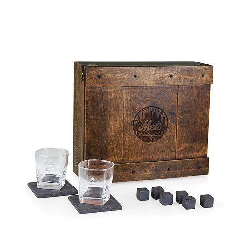 New York Mets Whiskey Box Gift Set