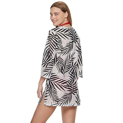 Women's Portocruz Leaf Print Lace-up Tunic Cover-Up
