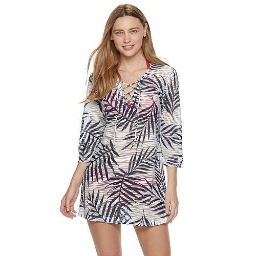 dd0a2406237fe Women's Portocruz Leaf Print Lace-up Tunic Cover-Up
