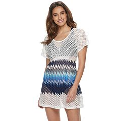 d46687e8b Women's Portocruz Cinched Front Tunic Cover-Up. White Aqua Coral White Navy  Blue