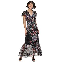 5bd07fba7d2f Women's Apt. 9® Ruffle Wrap Maxi Dress. Black Pink Floral ...