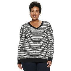 Plus Size Croft & Barrow® Classic Cable Knit V-Neck Sweater
