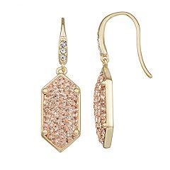 Harper Stone Geometric Crystal Drop Earrings