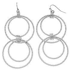 Jennifer Lopez Textured Nickel Free Hoop Drop Earrings