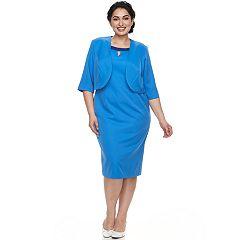 Plus Size Le Bos Beaded Dress & Jacket Set