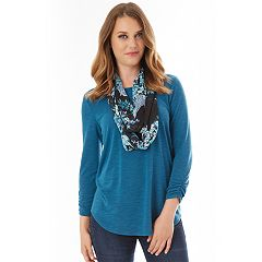 Women's Apt. 9® Ruched Tee & Scarf Set