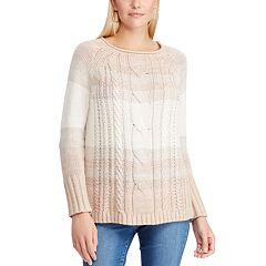 Women's Chaps Cable-Knit Ombre Striped Sweater