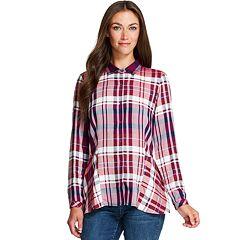 Women's IZOD Plaid Peplum-Hem Shirt