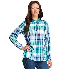 Women's IZOD Plaid Peplum-Hem Shirt