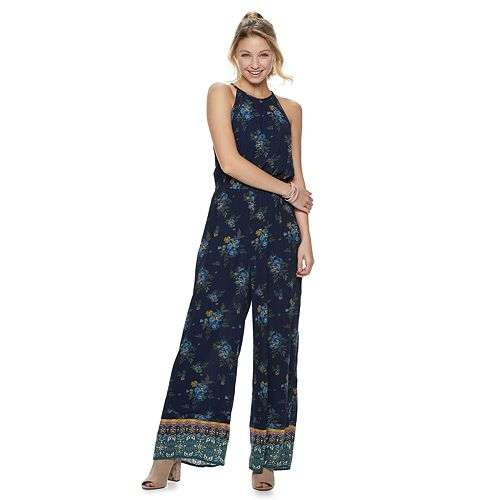Juniors' Mudd® High Neck Patterned Jumpsuit