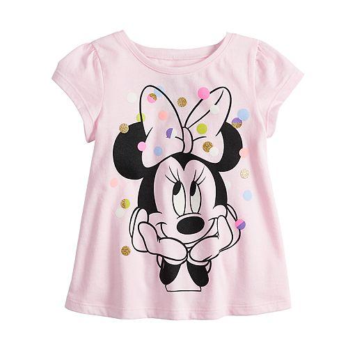 Girls Disney Minnie Mouse 2 Piece Set Summer T-shirt /& Shorts Size 3-8 Years