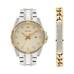 Bulova Men's Crystal Accent Two Tone Stainless Steel Watch & Chain Bracelet Set - 98K106K