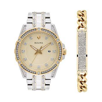 Bulova Men's Crystal Accent Two Tone Stainless Steel Watch & Chain Bracelet Set - 98K106K