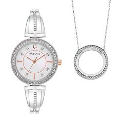 Bulova Women's Crystal Bangle Watch & Circle Pendant Necklace Set - 98X121K