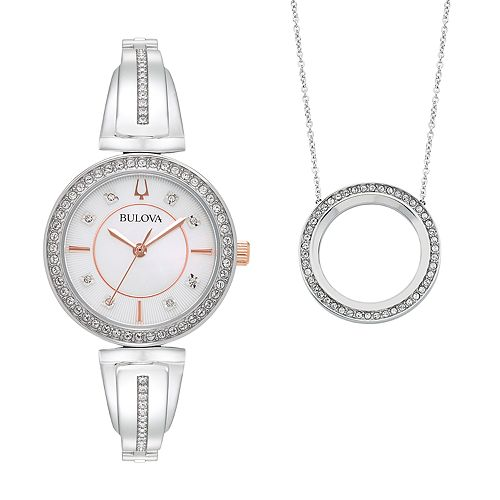 Bulova Women's Crystal Bangle Watch & Circle Pendant Necklace Set - 98X121K