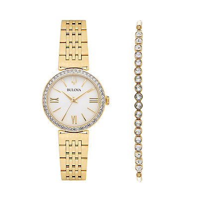 Bulova Women's Crystal Accent Watch & Lariat Bracelet Set - 98D147
