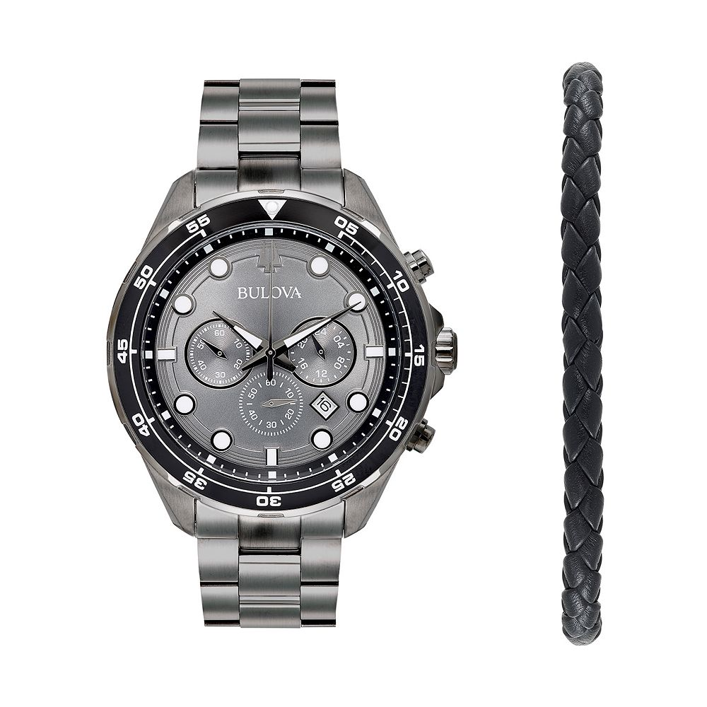Bulova Men's Stainless Steel Chronograph Watch & Braided Bracelet Set - 98K104K
