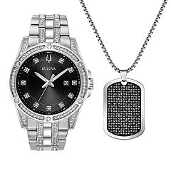Bulova Men's Crystal Accent Stainless Steel Watch & Dog Tag Necklace Set - 96K104K