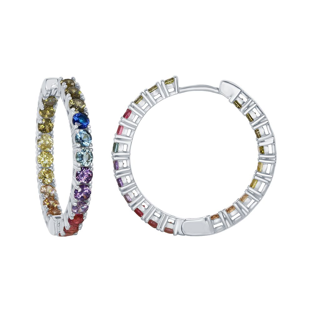 Sterling Silver Colorful Cubic Zirconia Inside Out Hoop Earrings