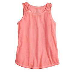 Girls 7-16 & Plus Size SO® Lace Shoulder Tank