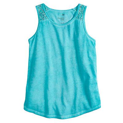 Girls 7-16 & Plus Size SO® Lace Shoulder Tank