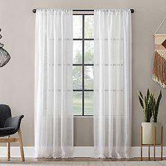 Clean Window Textured Slub Stripe Anti-Dust Window Curtain