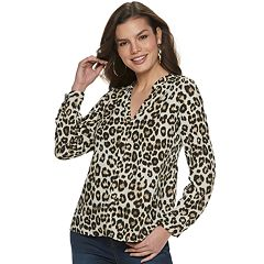 Women's Jennifer Lopez Crepe Notchneck Shirt
