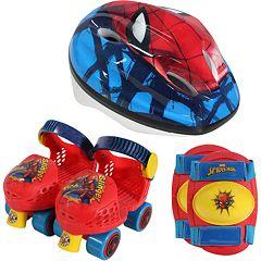 PlayWheels Spider-Man Kids Rollerskates with Knee Pads and Helmet