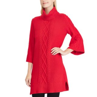 Women's Chaps Cable-Knit Turtleneck Sweater Dress