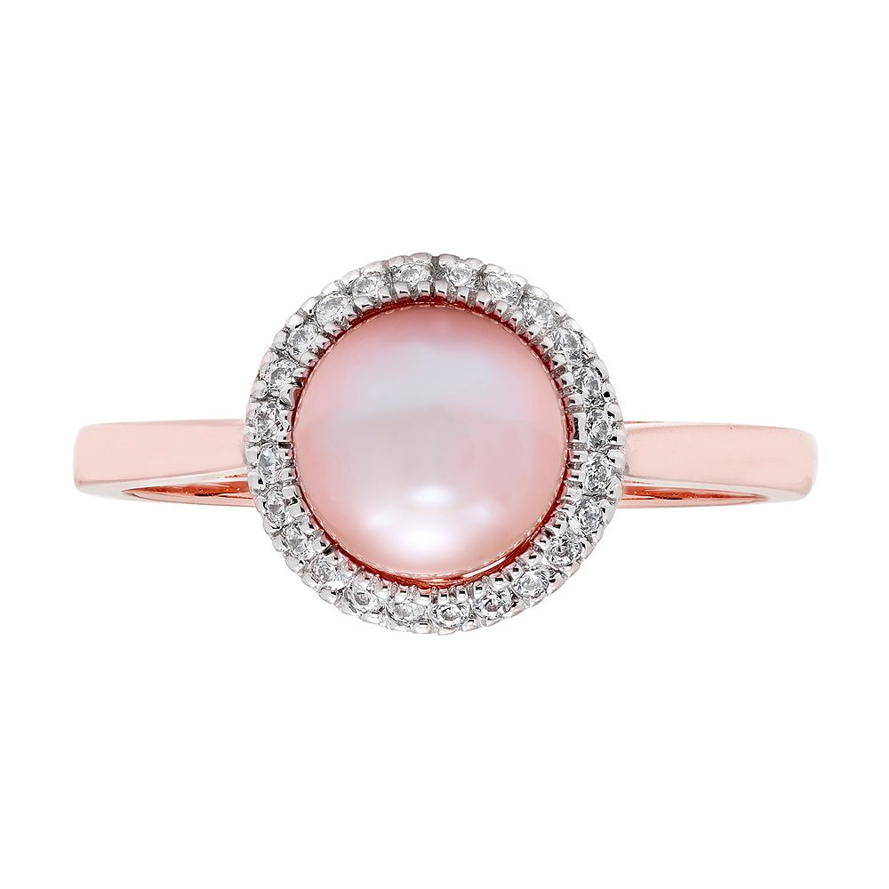 Freshwater Pearl 10k Rose Gold & 1/8 Carat T.W. Diamond Ring