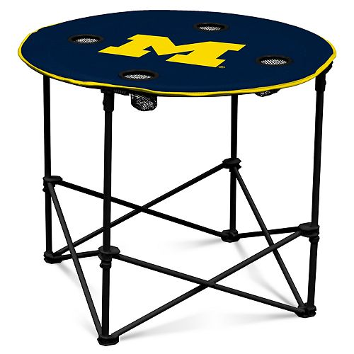 Excellent Michigan Wolverines Portable Round Table Gmtry Best Dining Table And Chair Ideas Images Gmtryco