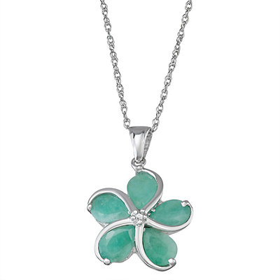 Sterling Silver Emerald Diamond Accent Flower Pendant Necklace