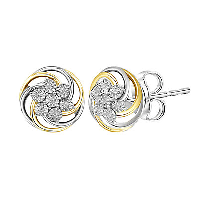 Two-Tone Sterling Silver 1/20 CT Diamond Illusion Stud Earrings