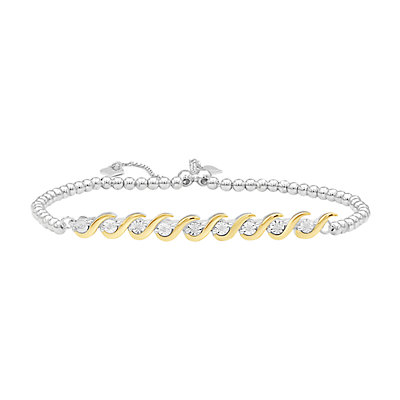 Two-Tone Sterling Silver Diamond Accent Bolo Bracelet