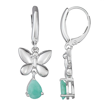 Sterling Silver 1.3 C.T. Green Stone Butterfly Drop Earrings