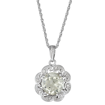 Sterling Silver Green Stone & Diamond Accent Flower Pendant