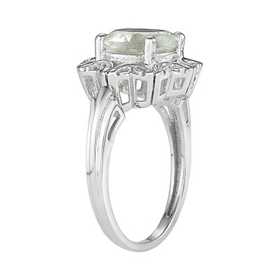 Sterling Silver 2.50 C.T.W. Green Stone & Diamond Accent Ring