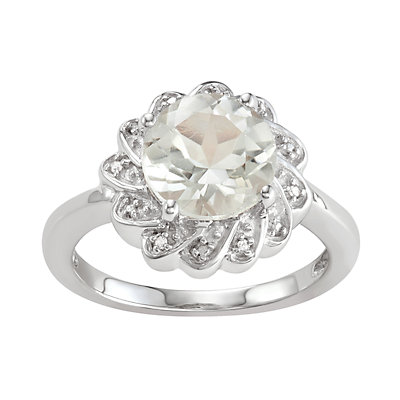 Sterling Silver 2.50 C.T.W. Green Stone & Diamond Accent Flower Ring