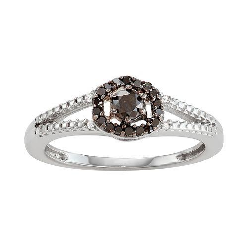 Sterling Silver 1/4 C.T. Black & White Diamond Split-Shank Ring