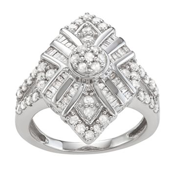 Sterling Silver 1 C.T. Diamond Baguette Ring