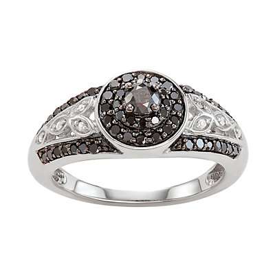 Sterling Silver 1/2 C.T. White & Black Diamond Filigree Ring