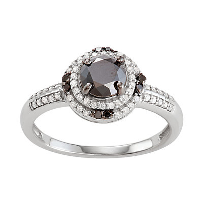Sterling Silver 1 C.T. Black & White Diamond Oval Ring