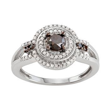 Sterling Silver 3/4 C.T. Black & White Diamond Circle Ring