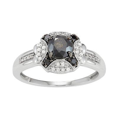 Sterling Silver 1 C.T. Black & White Diamond X Ring