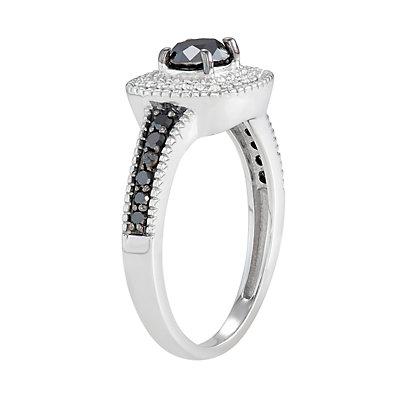 Sterling Silver 3/4 C.T. Black & White Diamond Square Ring
