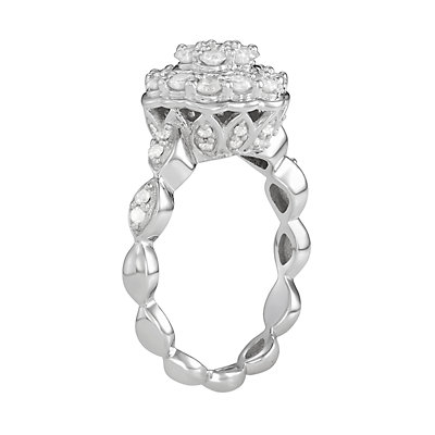 Sterling Silver 1 C.T. Diamond Ring