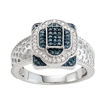 Sterling Silver 1/4 C.T. Blue & White Diamond Layering Ring